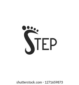 Logo footprint step logotype lettering, abstract S letter symbol, text emblem for shoes shop, foot icon