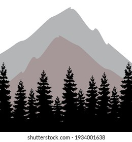 Logo with forest and mountains. Vector image. Dark colors. Minimalistic style. Label, emblem, stamp vector template
