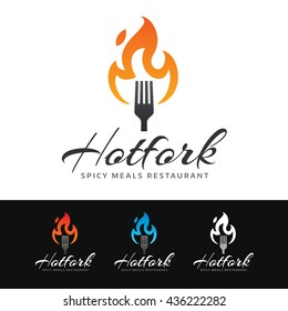 Logo of a fork with hot flame. This logo is suitable for many purpose as : restaurant, spicy meals, barbecue party and more.