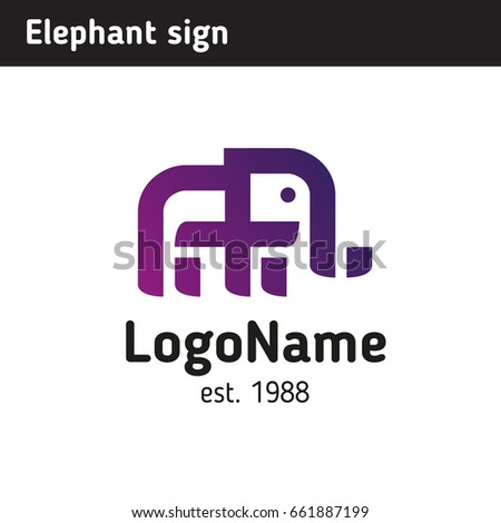 d4022f030 Royalty-free stock vector images ID  661887199. Logo in the form of an  elephant in a modern style - Vector