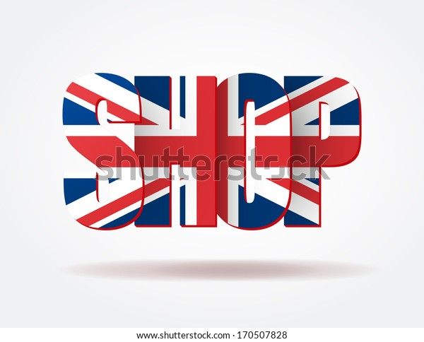 Logo in the form of letters SHOP of Great Britain. Vector illustration for web design and business. White background isolated, editable.