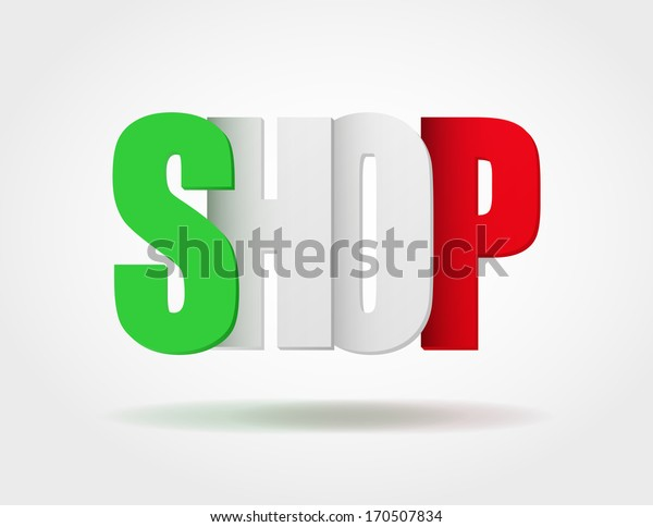 Logo in the form of letters SHOP of Italy. Vector illustration for web design and business. White background isolated, editable.