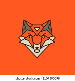 Logo Fox of the lines on an orange background