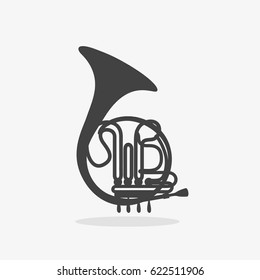 Logo with French Horn, Silhouette of Brass Orchestra Woodwind Instrument on white background Isolated.