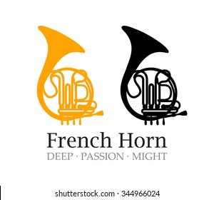 Logo with French Horn Silhouette,Vector Illustrations of Musical Instrument with caption.