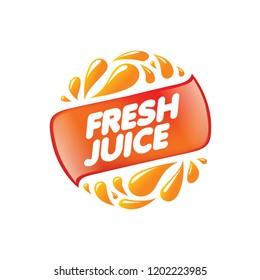 Logo for fresh juice. Vector illustration on white background.