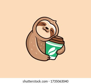 The logo funny sloth with coffee. Food logotype, cute animal sleep, cartoon character, badge, sticker, emblem on beige background. Vector illustration, flat, line art style, creative design