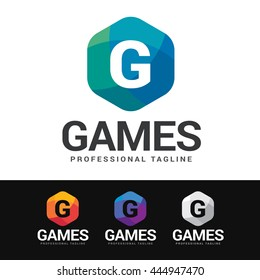 Logo of a G letter in colorful mosaic hexagonal shape. This logo is suitable for many purpose as gaming club, corporate identity, company name beginning with G and more.
