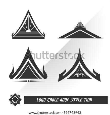 Logo Gable Roof Style Thai เวกเตอร์สต็อก ปลอดค่าลิขสิทธิ์