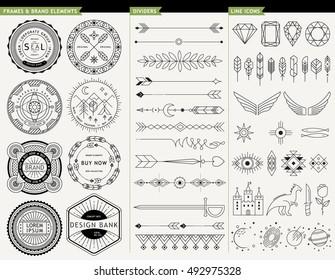 LOGO GEOMETRIC LINE DESIGN ELEMENTS. Frames, brands, design elements, dividers and icons. logo design elements.