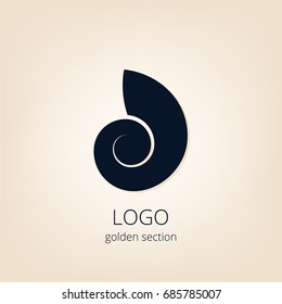 Logo, golden section. Shell. Design. Building. Project. Interior design logo. Sign. Eco-design
