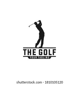 logo for golf with illustration of a golfer hitting a golf ball