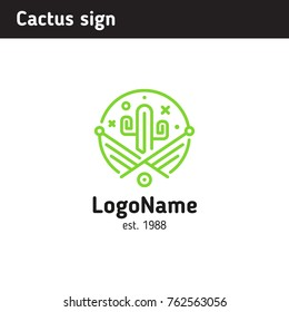 logo green cactus for an establishment of Mexican cuisine or a flower shop