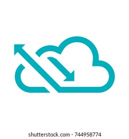 Logo green cloud with up and down arrows facing left, logo cloud statistics and data storage