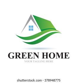Logo Green Home Icon Element Template Design Logos