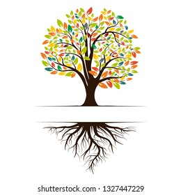 Logo of a green life tree with roots and leaves. Vector illustration icon isolated on white background.