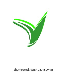 Logo green sprout icon consists of the main element and contours