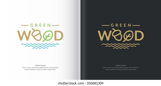 Logo green wood. Graphic sign of the city Park. Vector illustration. A sign with the symbol of the forest.