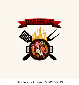 Logo grilled food: Barbecue with flames. Utensils and red bow. Isolated on white background