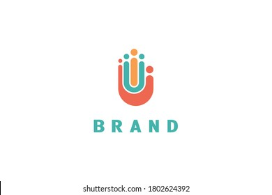 Logo of a group of people in the shape of a human palm, also consists of the element initials of the letters, red color is letter j, green is letter u, orange is letter i, modern and creative logo.