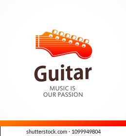 Logo of Guitar with peghead in orange color. Style colorful vector illustration in EPS 10.