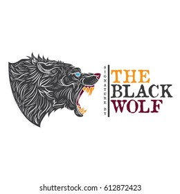 The logo with hand drawing style wolf vector