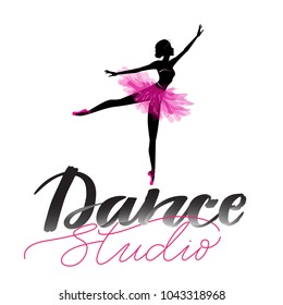 Logo, hand written sign for ballet or dance studio. Silhouette of young dancer and modern lettering. Can be used for logo, signage, posters and advertising your business, Vector illustration, sketch.