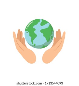 Logo hands protect the world, Save the nature for future concept.