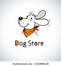 Logo of happy dog in bandana. Cute cartoon mascot. Logotype for pet shop or veterinary