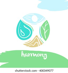 Logo harmony, four nature element, high mountain, blue sky, clean water, green tree. Illustration for eco-friendly technologies and clean energy environmental organization.