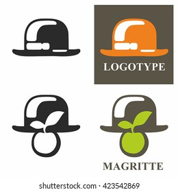 Logo hat and apple. Simple vector.