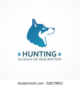 Logo with Head of Hunting Dog. Vector Illustrations of Pet isolated on white background
