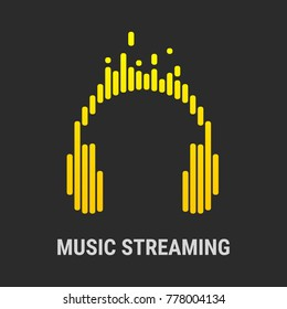 Logo headphones. Musical equalizer. Streaming music.