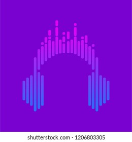 Logo headphones. Streaming music.  Musical equalizer. Vector illustration. EPS10
