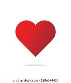 Logo heart illustration.Red heart design icon flat. Modern flat valentine love sign. Trendy vector hart shape, symbol for web site design, button to mobile app. Logo heart illustration.