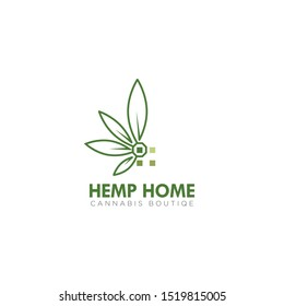 logo hemp home, with simple windows and art line cannabis vector