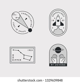 Logo logo of the hipster style universe concept. flat design style minimal vector illustration