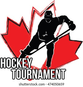 Logo with hockey player silhouette above Canada flag