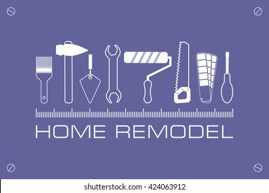 logo home remodel, icon of tools for repair
