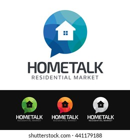 Logo of a home silhouette in colorful mosaic speech bubble. This logo is suitable for many purpose as real estate group, home staging, residential marketing and more.