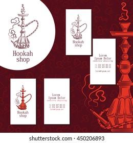 Logo for hookah shop. Set of business cards for hookah shop