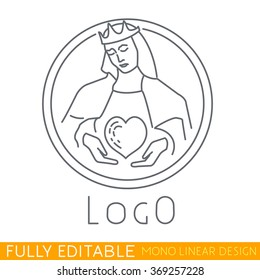 logo of a hospital or clinic. Queen holding careful the heart. Modern thin line logo template. Fully editable curves. Mono linear pictogram of outline symbol. Stroke vector icon concept.