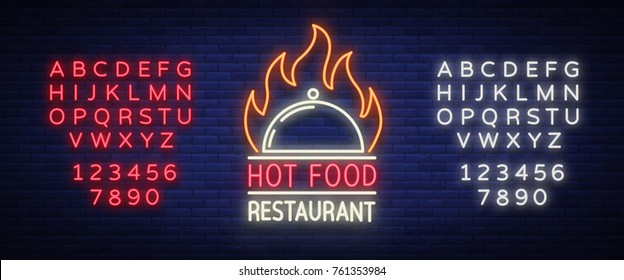 Logo of a hot food restaurant, neon sign, logo, emblem isolated Vector illustration. Bright luminous sign. This logo is suitable for: restaurant, spicy dishes barbecue parties. Editing text neon sign.