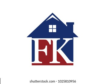 Logo house building with initial letter FK