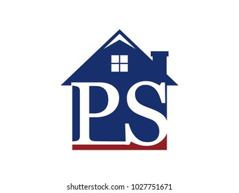 Logo house building with initial letter PS
