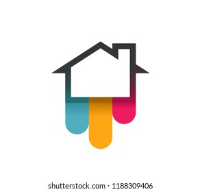 Logo of House with Colorful Bends. Vector Illustration isolated on white background.