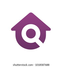 Logo House With Letter Q, Home Combined With Magnifying Glass Symbol