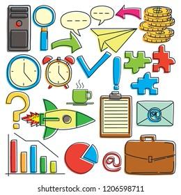 logo icon business doodle on white background doodle cartoon. vector illustration