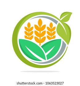 logo icon for business management and development of food commodities, especially for wheat, organic rice