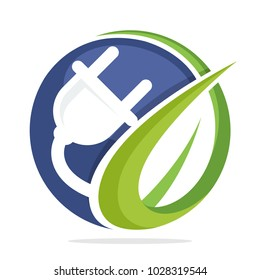 logo icon circle shape with concept of the development of electrical energy from plants